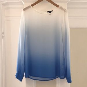 Tops - Blue and white ombré long sleeve blouse